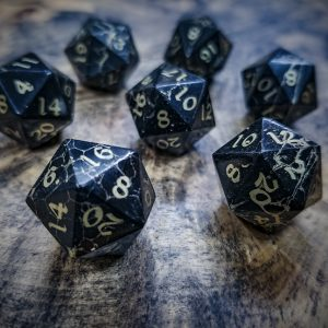 Jet D20s Inlaid with Brass