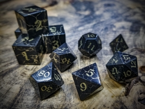 Jet Polyhedra Dice Inlaid with Brass