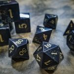 Jet Polyhedral Set with Brass Inlay