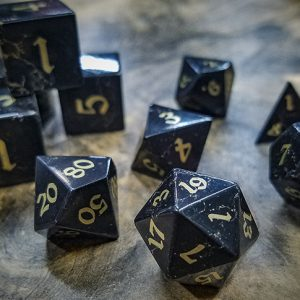 Jet and Brass Polyhedral Dice Set