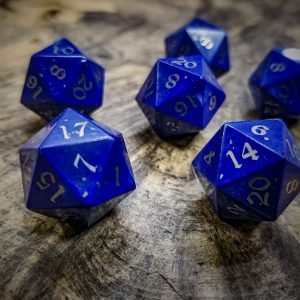 Lapis Lazuli D20s Inlaid with Nickel Silver