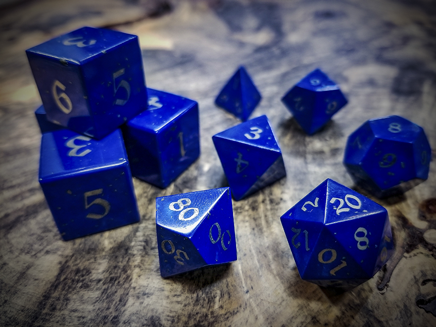 Lapis Lazuli Polyhedral Dice Inlaid with Nickel Silver