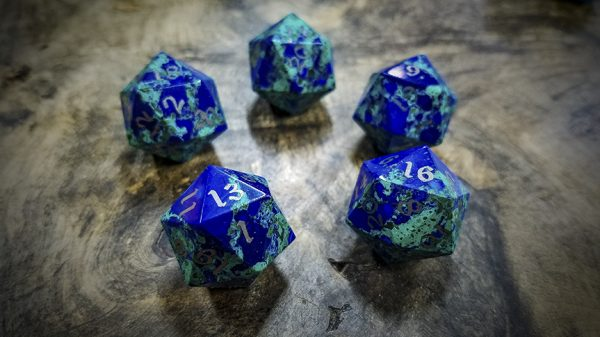 Lapis Lazuli and Malachite d20s with Electrum Inlay