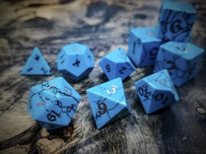 Sleeping Beauty Turquoise Polyhedral Dice Inlaid with Copper