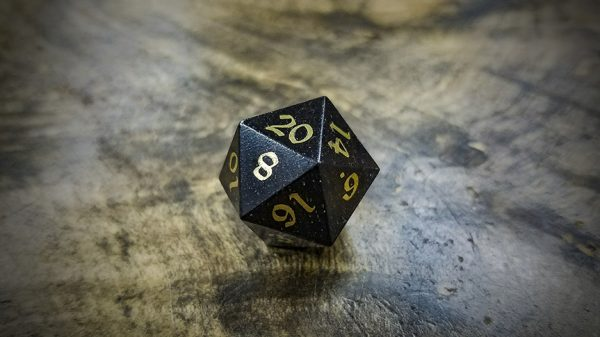 Mpingo d20 with Brass Inlay