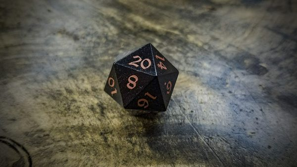 Mpingo d20 with Copper Inlay