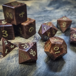 Redwood Burl Polyhedral Set Inlaid with Brass