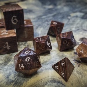 Redwood Burl Polyhedral Set Inlaid with Bronze
