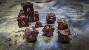 Redwood Burl Polyhedral Set Inlaid with Copper