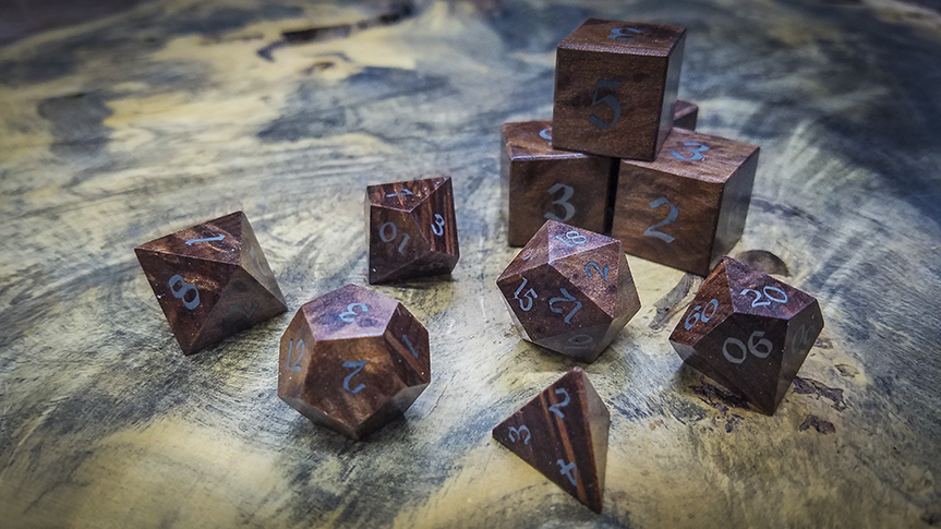Redwood Burl Polyhedral Set Inlaid with Electrum