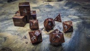 Redwood Burl Polyhedral Set Inlaid with Nickel Silver