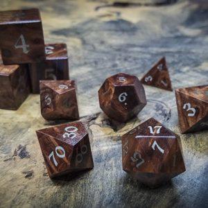 Redwood Burl Polyhedral Set Inlaid with Nickel Silver