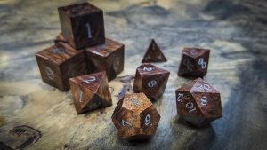 Redwood Burl Polyhedral Set Inlaid with Stainless Steel