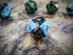 Turquoise and Jet Alpha D20