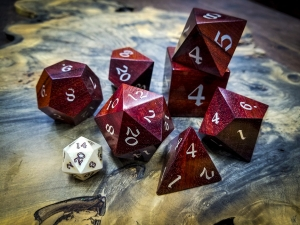 Big Ass Dice in Bloodwood with Electrum Inlay
