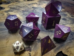 Big Ass Dice in Purple Hear with Brass Inlay #53