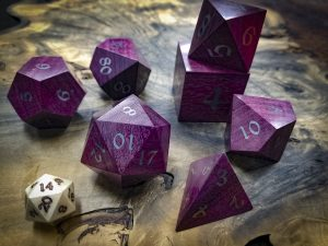 Big Ass Dice in Purple Hear with Electrum Inlay #54