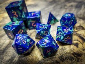 Azurite and Malachite Polyhedral Dice Copper Inlay