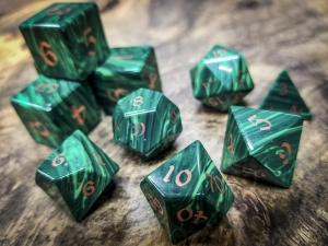 Banded Malachite Polyhedral Dice Copper Inlay