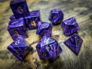Charoite Polyhedral Dice Bronze Inlay
