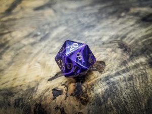 Charoite Twenty Sided Dice Bronze Inlay