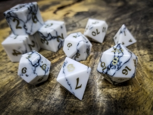 Howlite Polyhedral Dice Brass Inlay