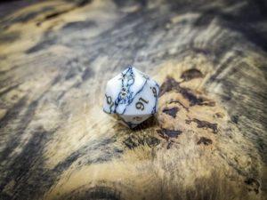Howlite Twenty Sided Dice Brass Inlay