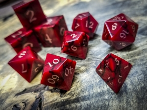 Red Jasper Polyhedral Dice Copper Inlay