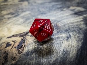 Red Jasper Twenty Sided Dice Copper Inlay