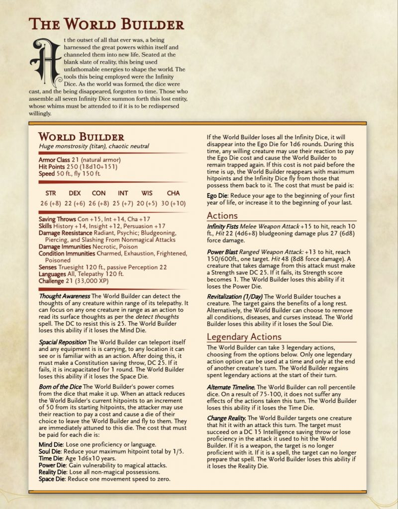 The World Build Stat Block (PDF Link Above)