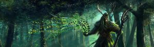 Druid casting a spell