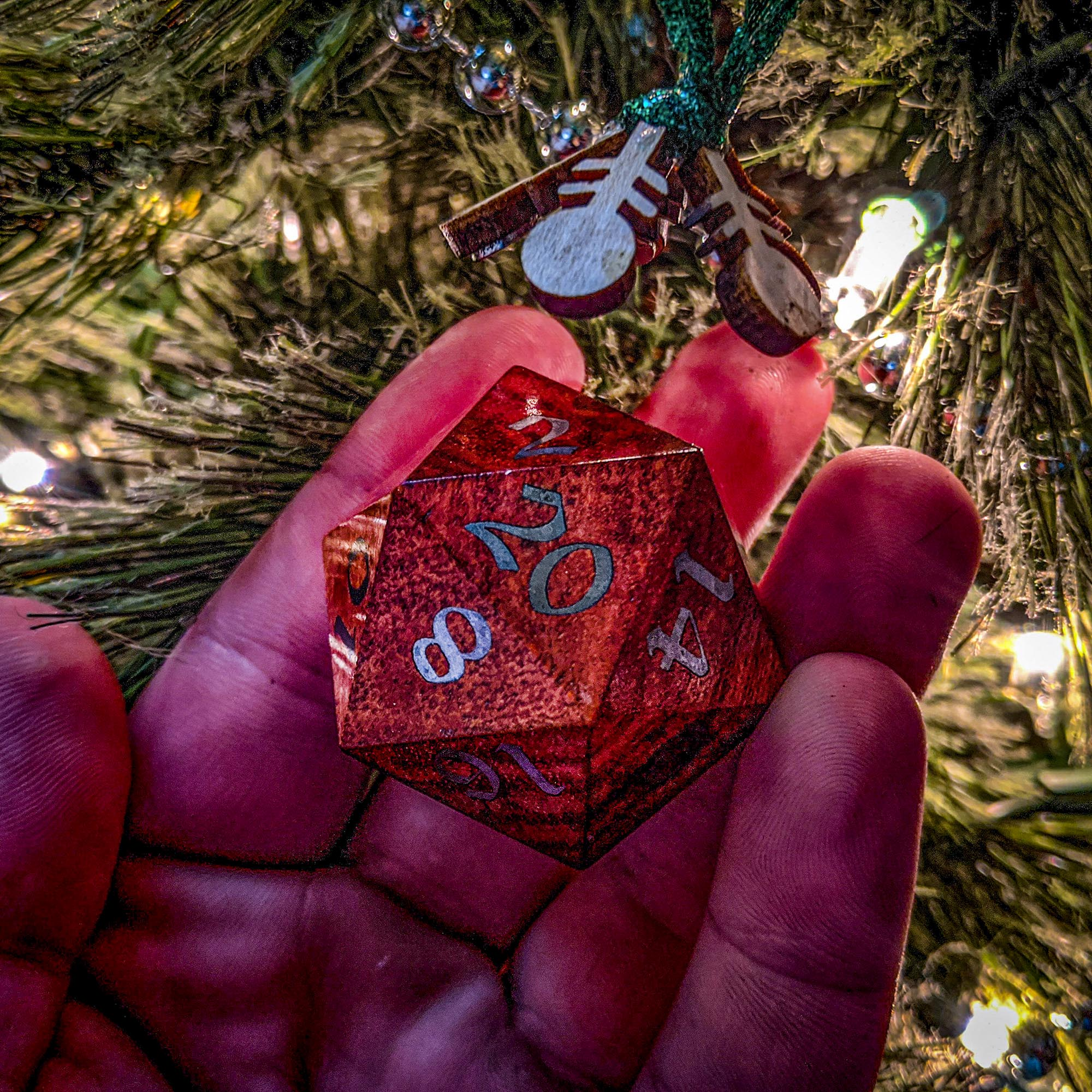 Big Ass D20 Christmas Ornament in Hand
