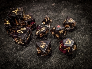 Black Rose Petal Polyhedral Dice